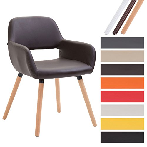 CLP Esszimmerstuhl BOBBY mit Kunstlederbezug, Wartezimmerstuhl mit Armlehnen, Besucherstuhl mit Buchenholzgestell, Küchenstuhl,