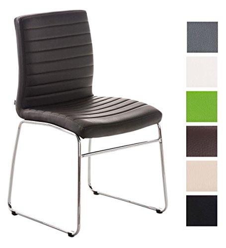 CLP Esszimmerstuhl LEA mit hochwertiger Polsterung und Kunstlederbezug | Küchenstuhl mit Bodenschonern und einer Sitzhöhe von: 47 cm | In verschiedenen Farben wählbar