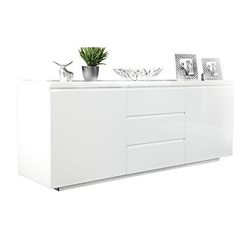 Invicta Interior Modernes Design Sideboard X7 190 cm weiß Hochglanz Finish Kommode Schrank Stauraum Schubladen