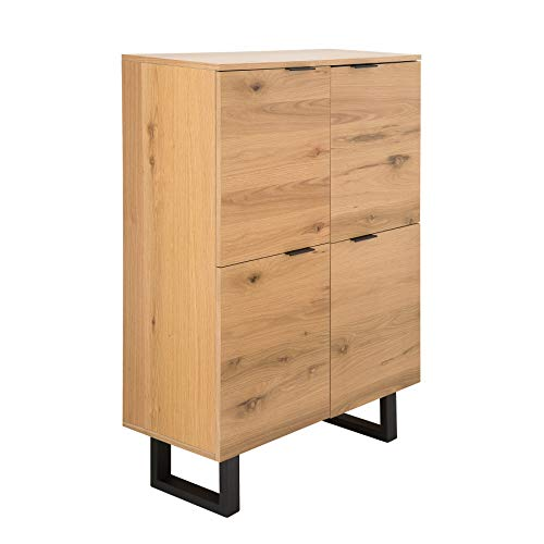 Riess Ambiente Design Highboard Canadian Wild Oak 130cm Eiche Board Schrank Regal Sideboard