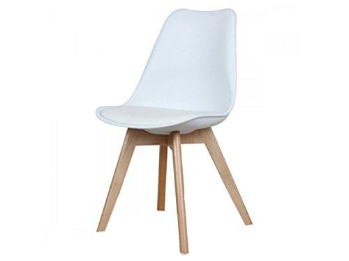 Zolta Moderne Retro Stuhl Design Esszimmer Wohnzimmer Weiß Stuhl Holz 80x50x49cm
