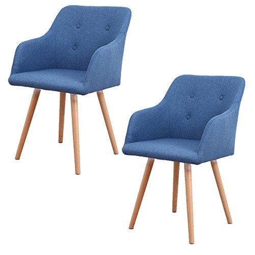 MCTECH® 2x Stuhl Esszimmerstühle Esszimmerstuhl Stuhlgruppe Konferenzstuhl Küchenstuhl Armlehne Büro mit Massivholz Eiche Bein