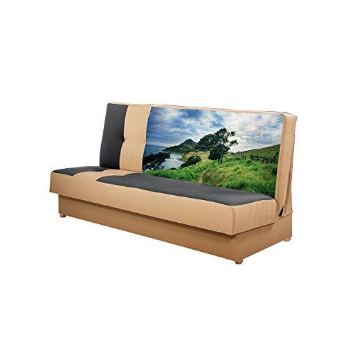 Mirjan24  Schlafsofa Image, Sofa mit Bettkasten und Schlaffunktion, Bettsofa, Schlafcouch, Muster Blumen Moto, Couch, Wohnlandschaft (Rainbow 05 + Rainbow 27 + Foto 04)