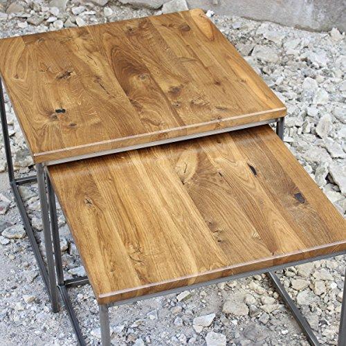 Original BestLoft®2er-Set Couchtisch Eiche Metall Beistelltisch Industiedesign loft Vintage Sofatisch massiv Holz