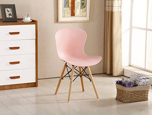 P & N Homewares® Alessia Eiffel Stuhl aus Kunststoff Gerippter DS Retro Weiß Schwarz Grau Rot Gelb Pink Grün Blau