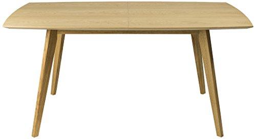 Tenzo 2184-001 Bess Designer Esstisch, Tischplatte MDF Lackiert, Matt, Untergestell Massiv, 75 x 160 205 x 95 cm, weiß/Eiche