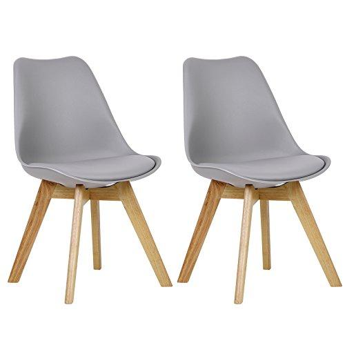 WOLTU #1095 2 x Esszimmerstühle 2er Set Esszimmerstuhl Design Stuhl Küchenstuhl Holz