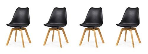 tenzo 3330-854 Tequila 4er-Set Designer Stühle Chloe, Plastik, schwarz/Eiche, 54 x 48 x 82 cm