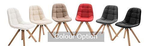 2er Set Esszimmerstuhl aus Kunstleder Farbauswahl Retro Design Stuhl mit Rückenlehne Holzbeine WY-466
