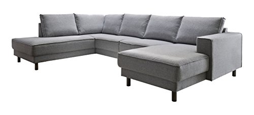Atlantic Home Collection BINA Ecksofa Stoff, 301 x 200 x 82 cm, Grau