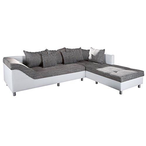 gro es ecksofa sultan weiss strukturstoff grau ot rechts retro stuhl. Black Bedroom Furniture Sets. Home Design Ideas