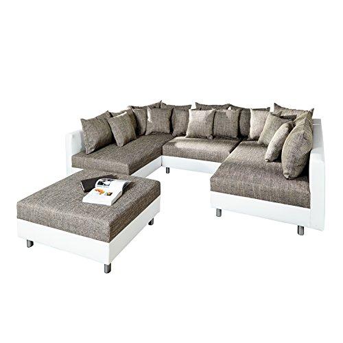 Invicta Interior Großes Design Sofa Loft XXL weiß grau Strukturstoff Inklusive Hocker Mega Sofa Couchgarnitur Schlaffunktion