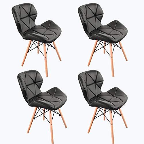 Naturelifestore 4er Set Cecilia Eiffel Millmead inspiriert Stuhl PU Retro Esszimmerstuhl Bürostuhl Lounge, Schmetterling Typ Rückenlehne Esszimmerstuhl