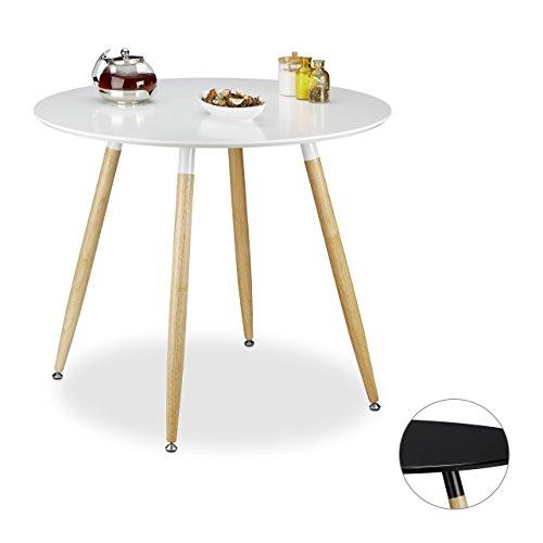 Relaxdays Runder Esstisch ARVID, Holz, HxD: 74 x 90 cm, Beine natur, Gummi Untersetzer, schwarz und weiß