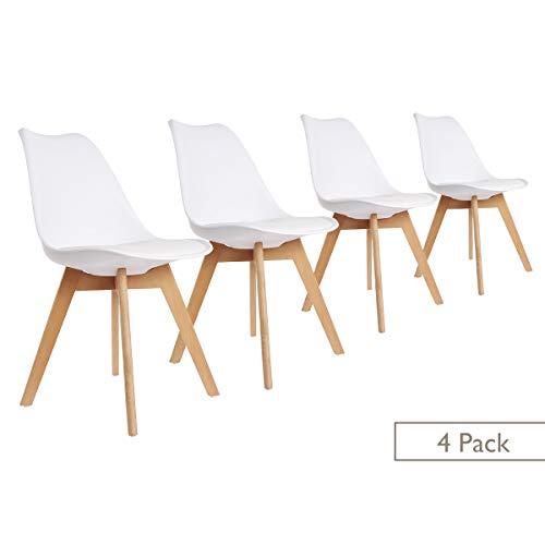 ease Esszimmerstühle 4er Set mit Massivholz Buche Bein Weichen Gepolsterten, Retro Design Gepolsterter Stuhl Küchenstuhl für Esszimmer Wohnzimmer Schlafzimmer Küche