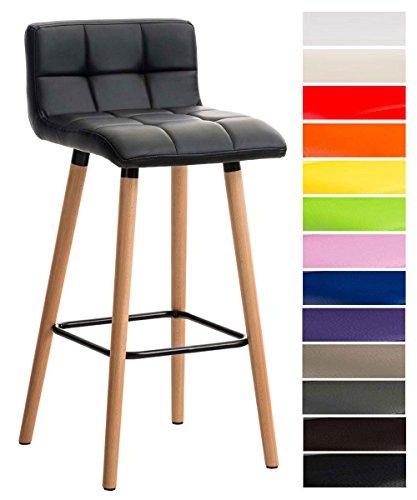 CLP Barhocker LINCOLN mit Kunstlederbezug und Holzgestell I Thekenhocker mit Rückenlehne und Fußstütze I Gepolsterter Barstuhl mit einer Sitzhöhe von 75 cm