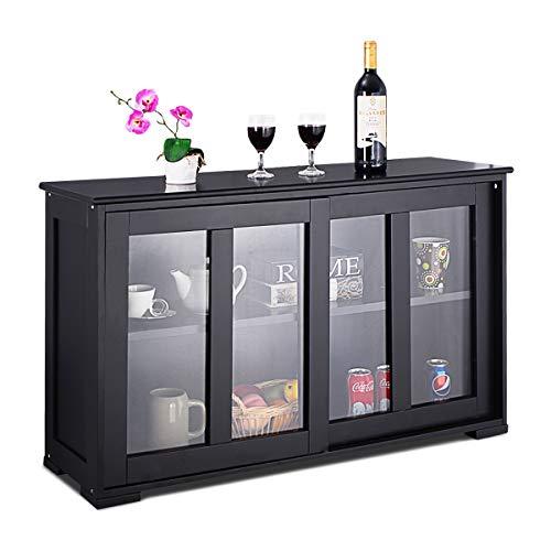 COSTWAY Sideboard Kommode Anrichte Schrank Küchenschrank Badkommode Beistellschrank Mehrzweckschrank mit Schiebetüren schwarz