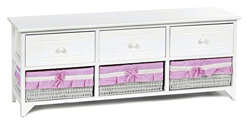 ts-ideen Landhaus Kommode Schrank weiß Sideboard mit 3 Schubladen und 3 Körben Bezug in Pink