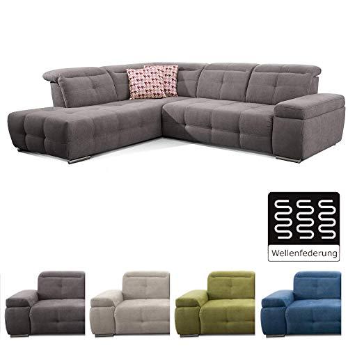 CAVADORE Polsterecke Mistrel mit Ottomanen Links/Eck-Couch mit Bettfunktion/Schlaffunktion / Kopfteilverstellung