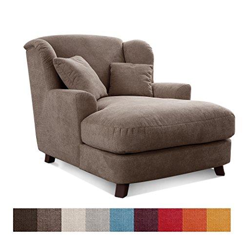CAVADORE XXL-Sessel Assado/Zweifarbiger Polstersessel in Cappucino/Dunkelbraun mit Holzfüßen, Großer Sitzfläche, Polsterung und 2 Weichen Zierkissen