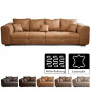Cavadore Big Sofa Mavericco/Big Couch im Modernen Design in Lederoptik/Inklusive Rückenkissen und Zierkissen/287 x 69 x 108 cm (BxHxT)/Mikrofaser Anthrazit