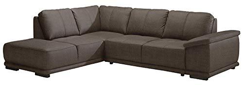 Cavadore Ecksofa Calypse Braunes Sofa im Modernen Design / 273 x 83 x 214 (BxHxT) / Strukturstoff braun