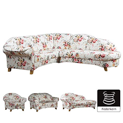 Cavadore Polsterecke Maifayr/Wunderschön geblümte Sitzecke im Landhausstil mit Holzfüßen/Landhaus Möbel/Armteil Rechts