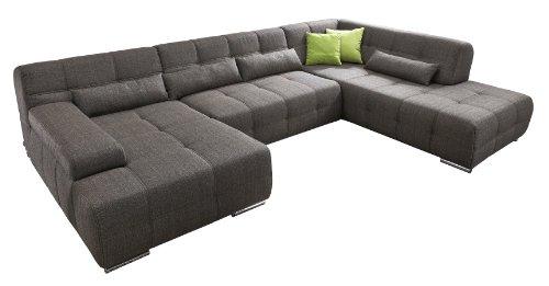 Cavadore Wohnlandschaft Boogies mit Longchair, Sofa U-Form mit Moderner Steppung in Sitz und Rückenlehne/Rückenecht / Inklusive Kissen/Größe: 344x76x231 (BxHxT)