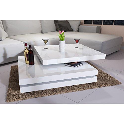 Deuba Couchtisch Wohnzimmertisch Hochglanz Beistelltisch Tisch Sofatisch Tischplatte 360° drehbar 60 x 60 cm - Farbe Weiß