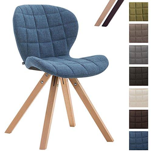 CLP Design Retrostuhl Alyssa mit Stoffbezug | Esszimmerstuhl mit eckigen Holzbeinen aus Buchenholz | In verschiedenen Farben erhältlich