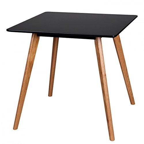 FineBuy Esszimmertisch aus MDF Holz | Esstisch mit Tischplatte in schwarz | Robuster Küchen-Tisch im Retro Stil | Holz-Tisch in skandinavischem Design | Untergestell in Eschefurnier
