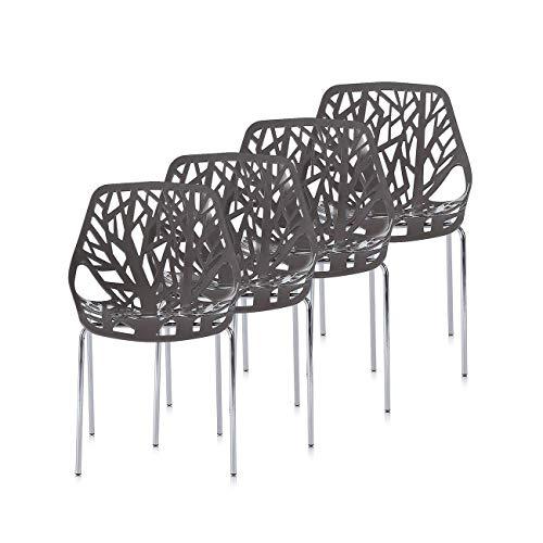 Makika Retro Stuhl Design Stuhl Esszimmerstühle Bürostuhl Wohnzimmerstühle Lounge Küchenstuhl Sitzgruppe 4er Set aus Kunststoff mit Rückenlehne CALUNA in Grau in verschiedenen Farben
