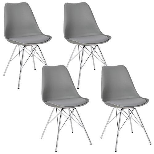 WOLTU® 4 x Esszimmerstühle 4er Set Esszimmerstuhl Küchenstuhl Polsterstuhl Design Stuhl mit Sitzfläche aus Kunstleder, Gestell aus verchromtem Stahl, BH05-4