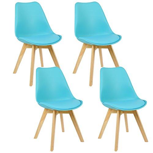 WOLTU® 4er Set Esszimmerstühle Küchenstuhl Design Stuhl Esszimmerstuhl Kunstleder Holz BH29-4