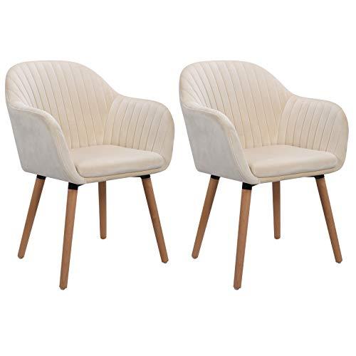 WOLTU Esszimmerstühle #1033 2er Set Küchenstuhl Wohnzimmerstuhl Polsterstuhl Design Stuhl mit Armlehne, Sitzfläche aus SAMT, Gestell aus Massivholz