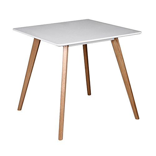 Wohnling Esszimmertisch aus MDF Holz   Esstisch mit Tischplatte in weiß   Robuster Küchen-Tisch im Retro Stil   Holz-Tisch in skandinavischem Design   Untergestell in Eschefurnier