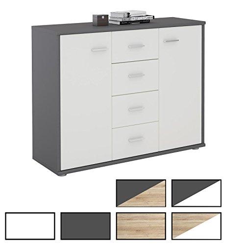 CARO-Möbel Sideboard Jamie Kommode Büromöbel mit 2 Türen und 4 Schubladen