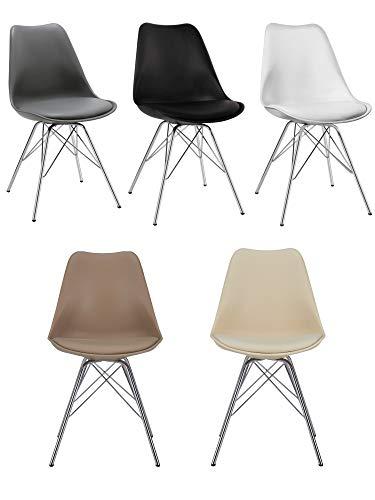 Duhome Esszimmerstuhl 2er Set Küchenstuhl Kunststoff mit Sitzkissen Stuhl Vintage Design Retro Farbauswahl 518J