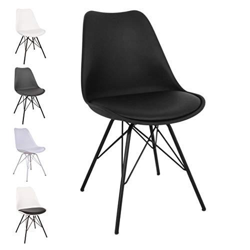 Nimara Comfort Stuhl in skandinavischem Design | Esszimmerstühle und Küchenstühle | Stühle in Schwarz, Weiß, Grau und Mehreren Farben | Retro Stuhl | Sitzkissen Stuhl