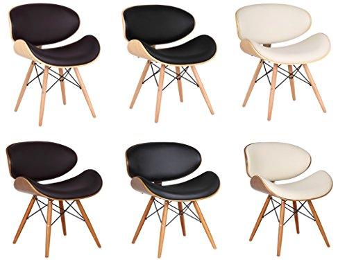folk Wohnzimmerstuhl Esszimmerstuhl Bürostuhl Designer Kunstleder aus Massivholz Nussbaum Eiffel -Finish