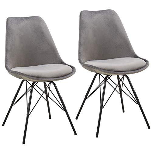 Duhome 2er Set Esszimmerstuhl Stoff Samt Küchenstuhl Metallbeine Sitzkissen Retro Farbauswahl 518MJ