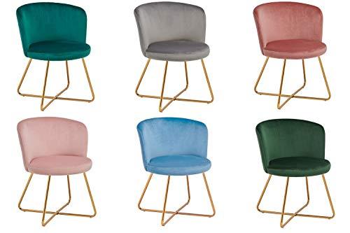Duhome 2er Set Esszimmerstuhl aus Stoff Samt Polsterstuhl Retro Design Stuhl mit Rückenlehne Besucherstuhl Metallbeine Farbauswahl 8076X