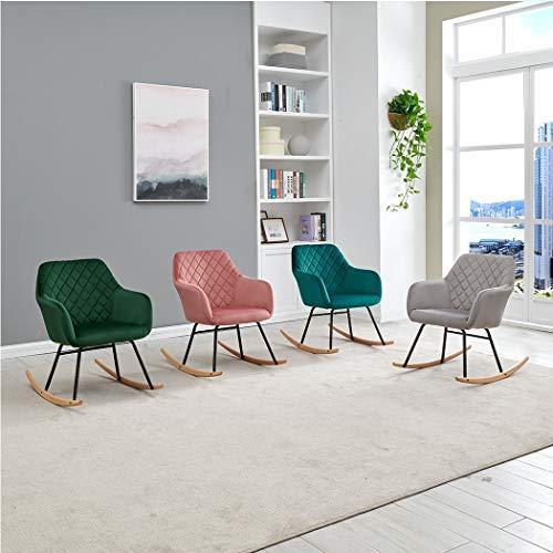 Duhome Schaukelstuhl Stoff Samt gesteppt Farbauswahl Schaukelsessel Schwingsessel gepolstert Relax Sessel Gestell Metall Holz 8026Y