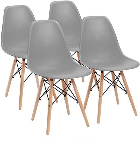 Naturelifestore 6er Set Esszimmerstühle/Lounge-Stühle im Modernen Design, Sitz aus Polypropylen und Beine aus Buchenholz