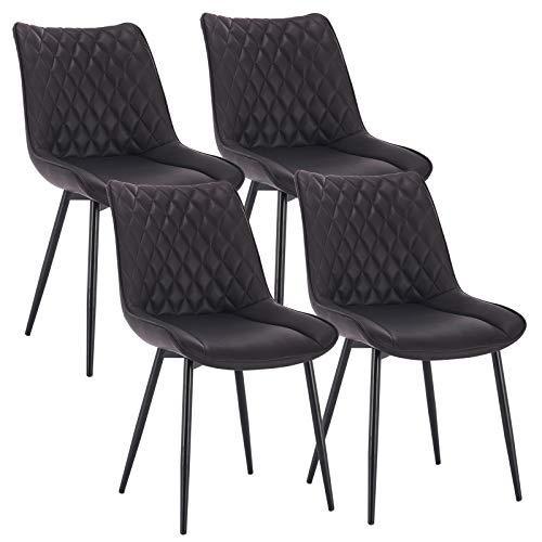 WOLTU 4 x Esszimmerstühle 4er Set Esszimmerstuhl Küchenstuhl Polsterstuhl Design Stuhl mit Rückenlehne, Gestell aus Metall, BH210-4