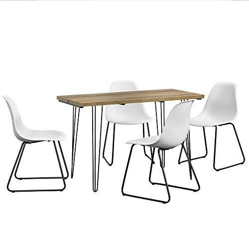 [ensa] Esstisch 120x60cm Hairpinlegs Mit 4 Stühlen Weiß