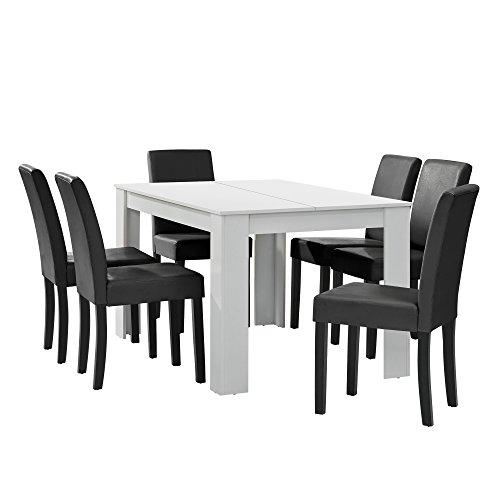 [en.casa] Esstisch weiß matt mit 6 Stühlen dunkelgrau Kunstleder gepolstert 140x90 Essgruppe Esszimmer