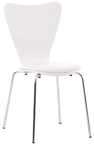 CLP Stapelstuhl Calisto mit Kunstledersitz und stabilem Metallgestell I Platzsparender Konferenzstuhl mit ergonomisch geformter Sitzfläche, Farbe:weiß/weiß