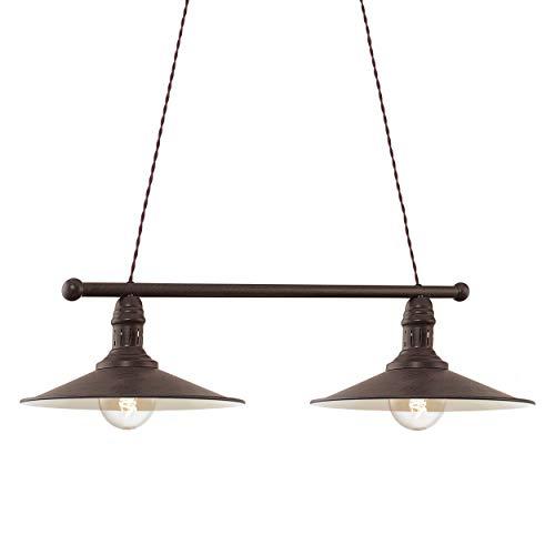 EGLO Pendelleuchte Stockbury, 2 flammige Hängelampe Industrial, Vintage, Retro, Hängeleuchte aus Stahl in Antik-Braun, Beige, Esstischlampe, Wohnzimmerlampe hängend, E27 Fassung