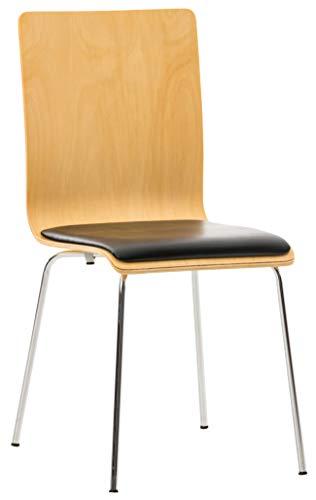 CLP Wartezimmerstuhl Pepe mit Kunstledersitz und stabilem Metallgestell I Konferenzstuhl mit ergonomisch geformter Sitzfläche, Farbe:Natura/schwarz